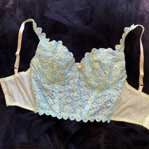 Vintage 90's Victoria's Secret Pastel Blue & Yell… - image 2