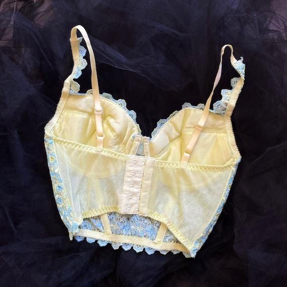 Vintage 90's Victoria's Secret Pastel Blue & Yell… - image 3