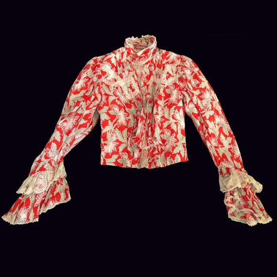 Victorian Antique Late 1800's Red Orange Floral Bo