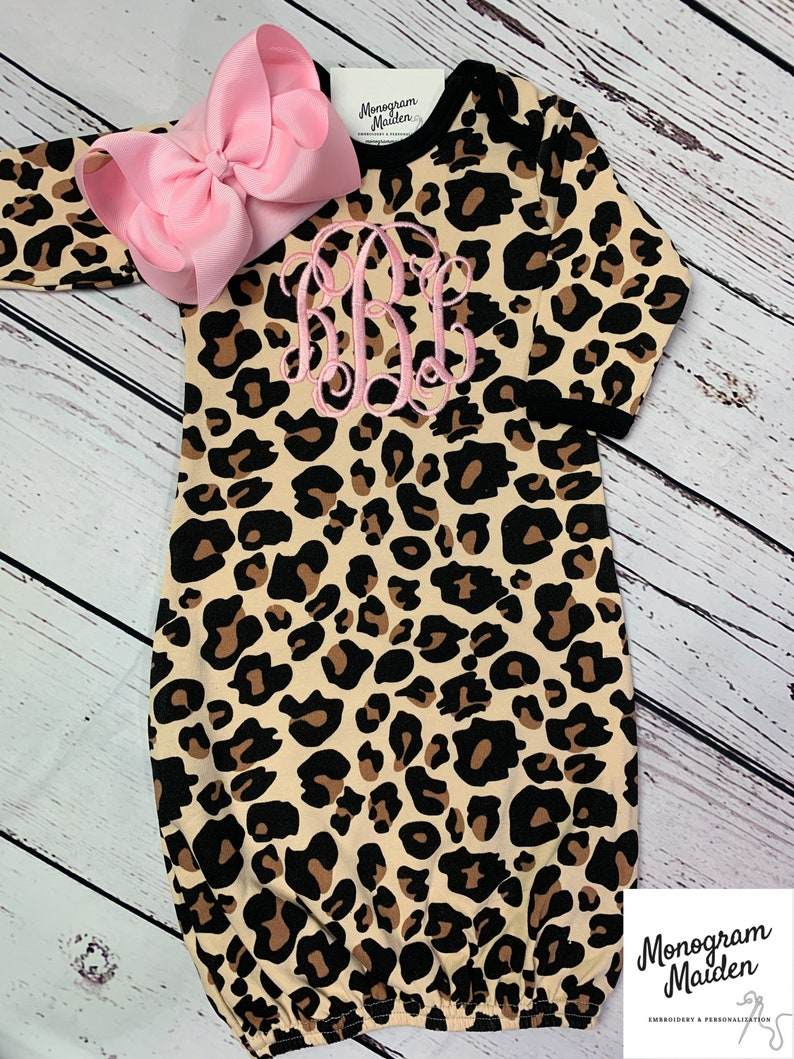 Monogram Newborn Girl Leopard Pink Coming Home Outfit Baby Girl Personalized Gown Sleeper Layette onesie Girl Gift Cheetah Animal Print