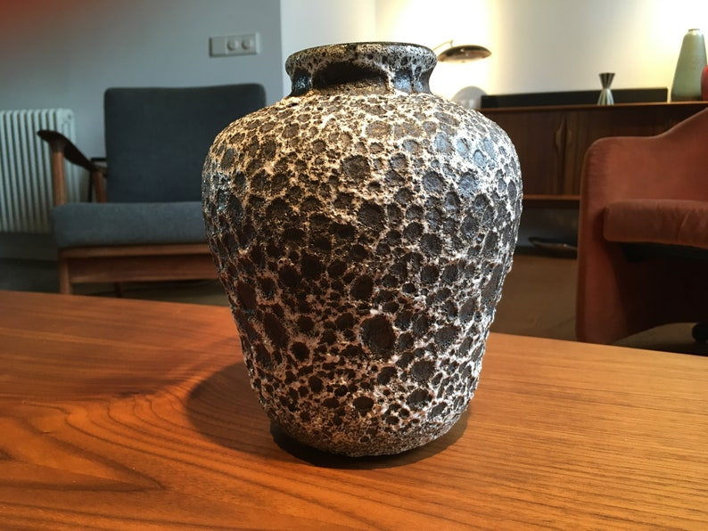 1960/'s French Fat Lava-Style Vase by Accolay