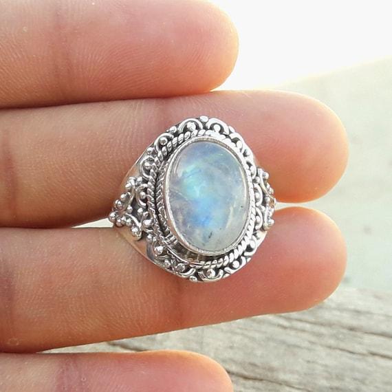 Fabulous Rainbow Moonstone Gemstone Handmade Solid 925 Sterling Silver Ring