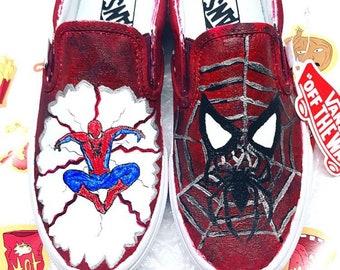f442bf72dd79d5 Spider-Man Custom Vans Custom Painted Vans