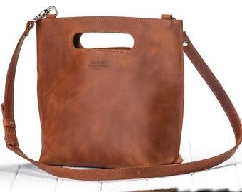 Leather tote bag Handmade leather bag Cognac leather tote Crossbody bag Leather laptop bag Tote leather bag Shoulder leather bag Gift