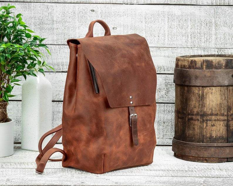 Backpack for gym Unisex backpack Natural leather Rucksack Duffel backpack Large leather backpack Leather backpack Leather rucksack