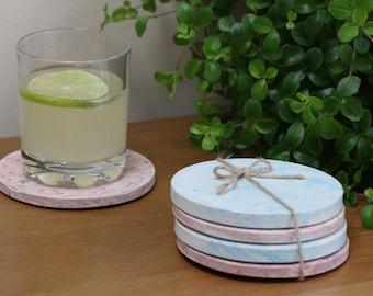 Custom Coaster Set Handcast in Jesmonite with Faux Marble Finish | Coaster Sets | Handmade Coasters | Jesmonite Coasters | Handcast Coasters