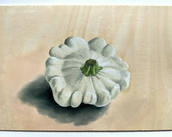White Patty Pan Squash Painting | Original Artwork | Original Oil Paintings | Handmade in the UK