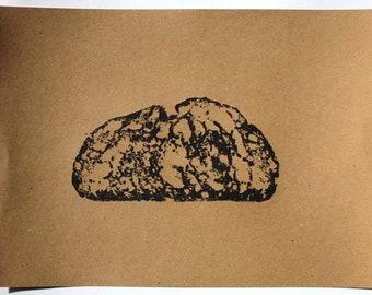 Bread Print 20: Big Bear Bakery Sesame Sourdough | Original Artwork | Block Print | Prints Wall Art | Handmade in the UK