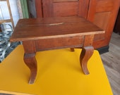 Tabouret repose-pieds ancien Louis XV merisier French vintage footstool