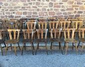 34 bistro chairs 1960 Alsace French wood bistro chairs No bentwood