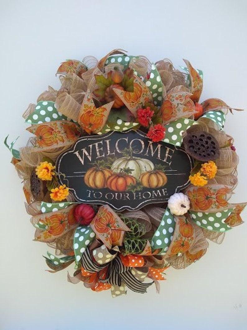 Autumn Wreath Fall Pumpkin Wreath Fall Front Door Harvest Wreath Welcome Home Pumpkin Door Decor Rustic Fall Wreath Unique Wreath