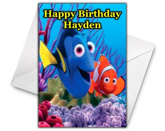 7607308e6a1 FINDING NEMO Personalised Birthday Card - Large Size A5 - Personalized  Birthday Card - Disney Greetings Birthday Cards - Disney Finding Nemo