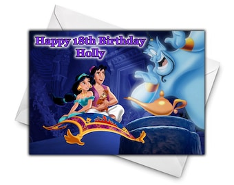 DISNEY ALADDIN Personalised Birthday Card
