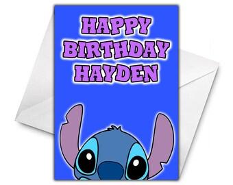 DISNEY STITCH Personalised Birthday Card