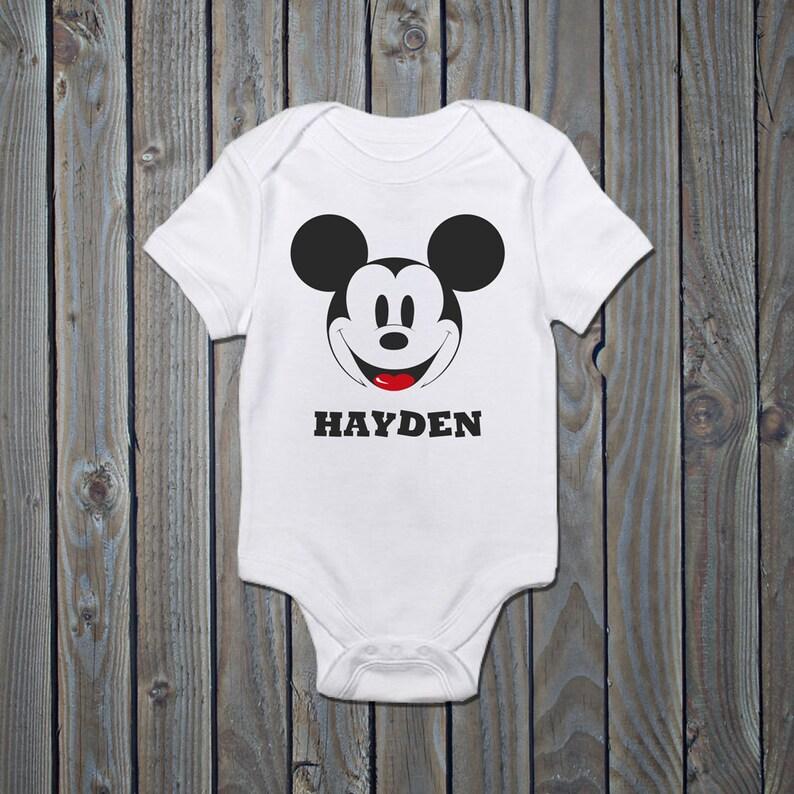 Disney Mickey Mouse Clothing Sleepsuit Onsie Disney Personalised Baby Romper Babygrow MICKEY MOUSE Personalised Baby Vest Romper