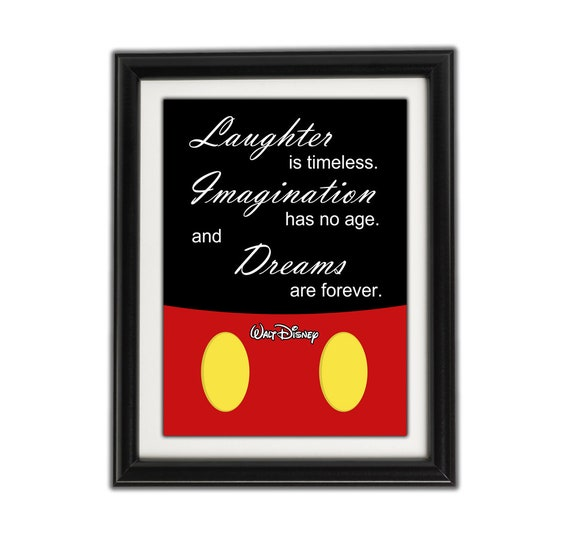 MICKEY MOUSE MINIMALIST Famous Disney Quote - Framed Artwork / Print for  Boys or Girls Bedroom - Walt Disney Famous Quotes - Famous Quotes