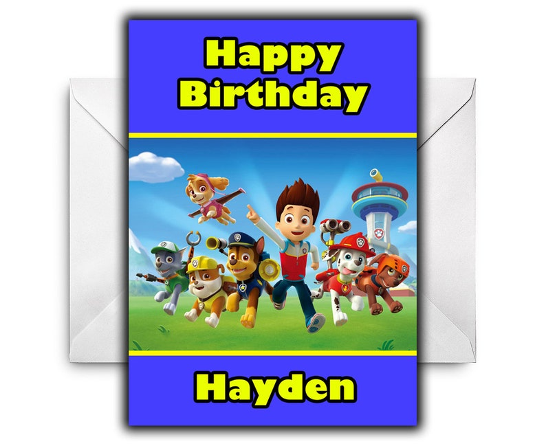 ANY NAME AGE RELATION PAW PATROL D2 PERSONALISED BIRTHDAY CARD