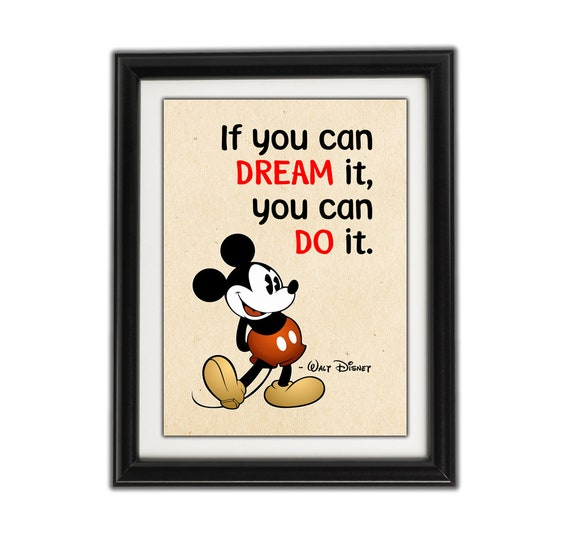 MICKEY MOUSE MINIMALIST Famous Disney Quote - Framed Artwork / Print for  Boys or Girls Bedroom - Walt Disney Famous Quotes - Famous Quotes 3