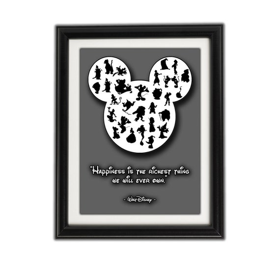 MICKEY MOUSE SILHOUETTE Famous Disney Quote - Framed Artwork / Print for  Boys or Girls Bedroom - Walt Disney Famous Quotes - Famous Quotes 4