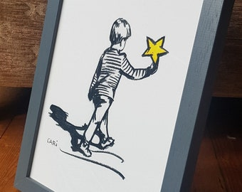 Framed Print for Christmas, Fine Art Giclee of Boy Holding on to a Golden Star, Black, White & Yellow picture, Gift for a Child, A Xmas Wish