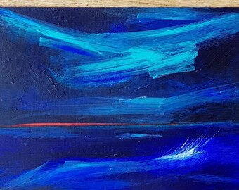 Original Contemporary Acrylic Sea View and Sunrise Painting on Birch Wood Panel, One Off Painting, Art in Blues, Bright original Artwork