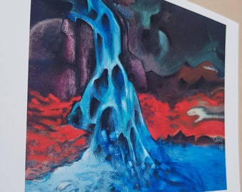 Bright, Contemporary Fine Art Print of an Icelandic Waterfall, Striking Landscape, Volcanic View, A5 Abstract Art for Modern home