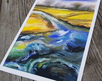 Beautiful, Bright, Fine Art Contemporary Coastal Print of East Lothian, Scottish Beach, Tidal Water Landscape on A5 Cotton Etching Paper