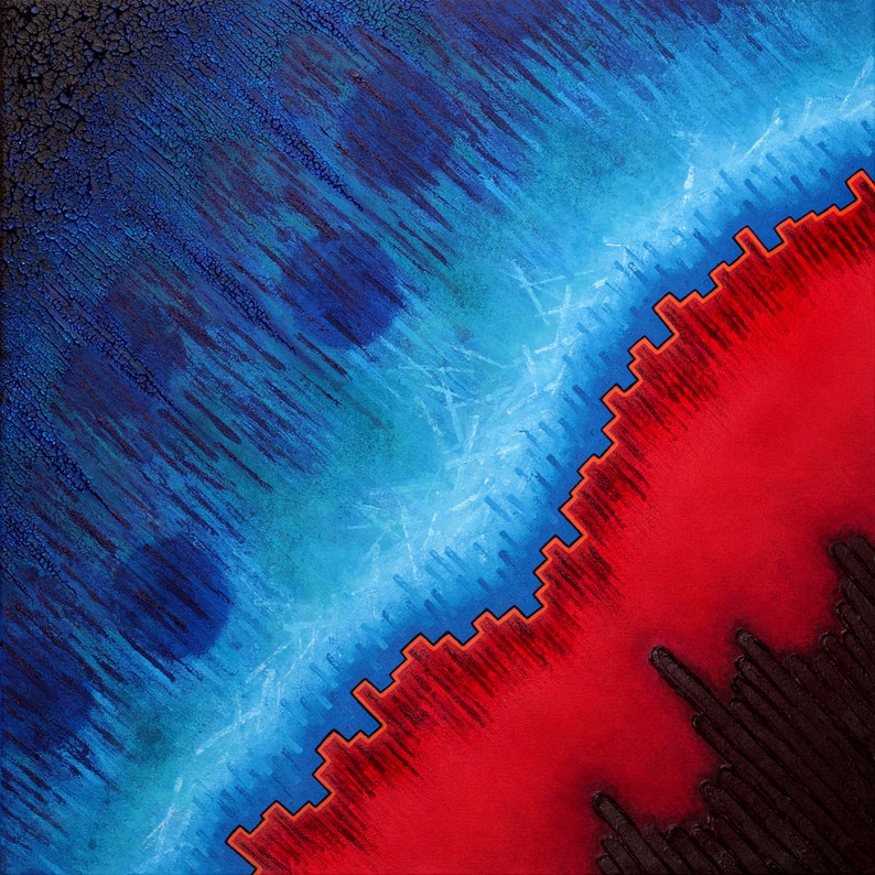 Physics inspired ocean blue & vibrant red square print of image 0