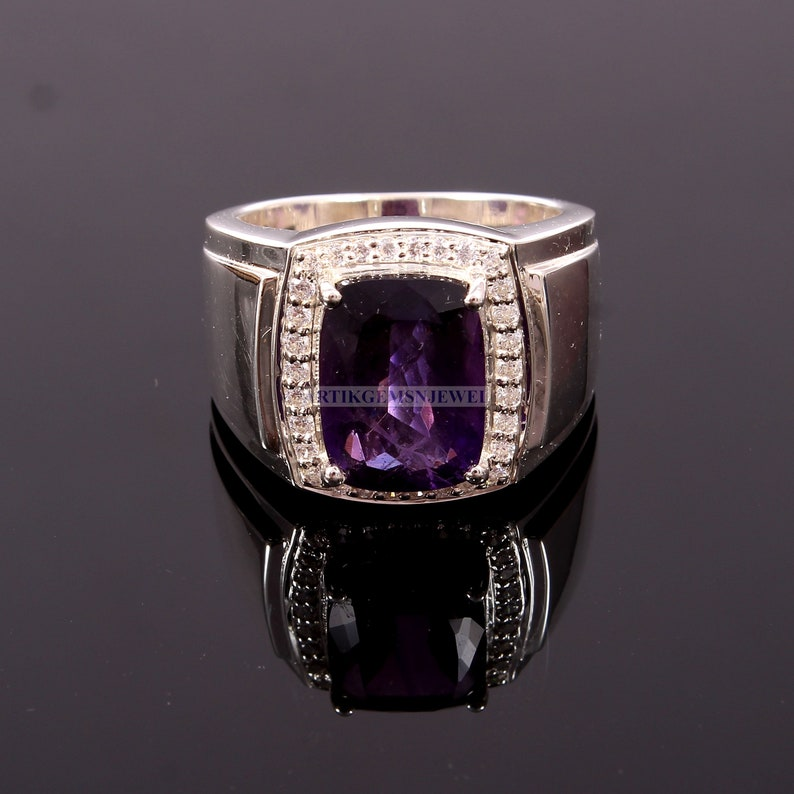 February Birthstone Ring 925 Sterling Silver Ring Desiger Silver Jewelry for Him Amethyst Gemstone Men/'s Ring