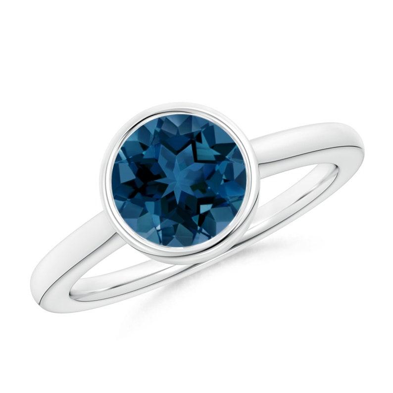 Bezel Set Ring for Her London Blue Topaz Sterling Silver Ring Engagement Ring for Women December Birthstone Ring