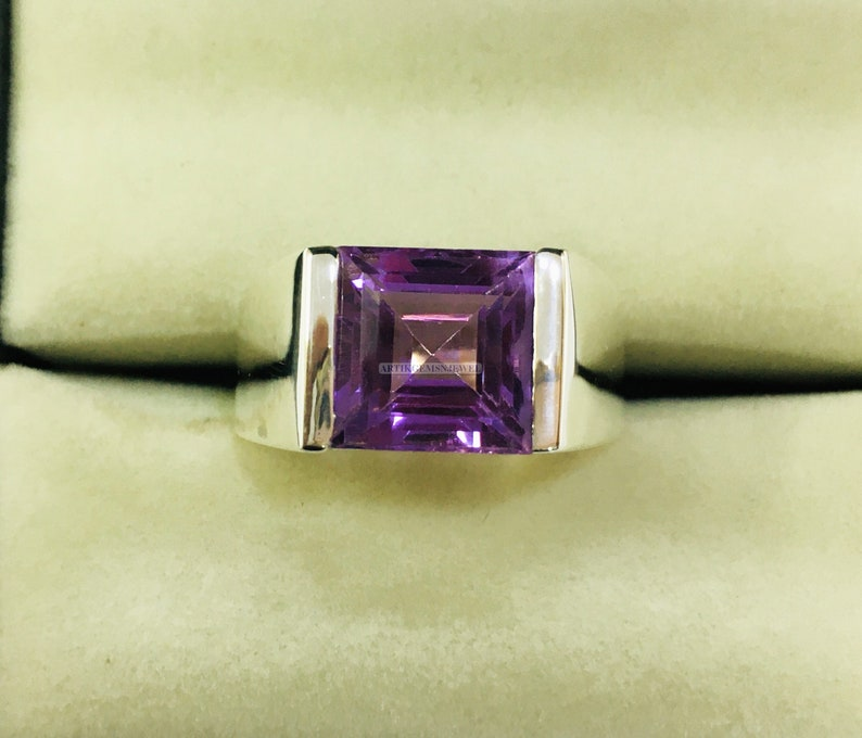 February Birthstone Ring for Him 925 Sterling Silver Ring Personalized Ring for Men/'s Amethyst Gemstone Ring for Men/'s