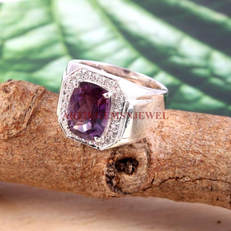 925 Sterling Silver Ring Amethyst Gemstone Ring for Men/'s Personalized Ring for Men/'s Designer Ring February Birthstone Ring for Him