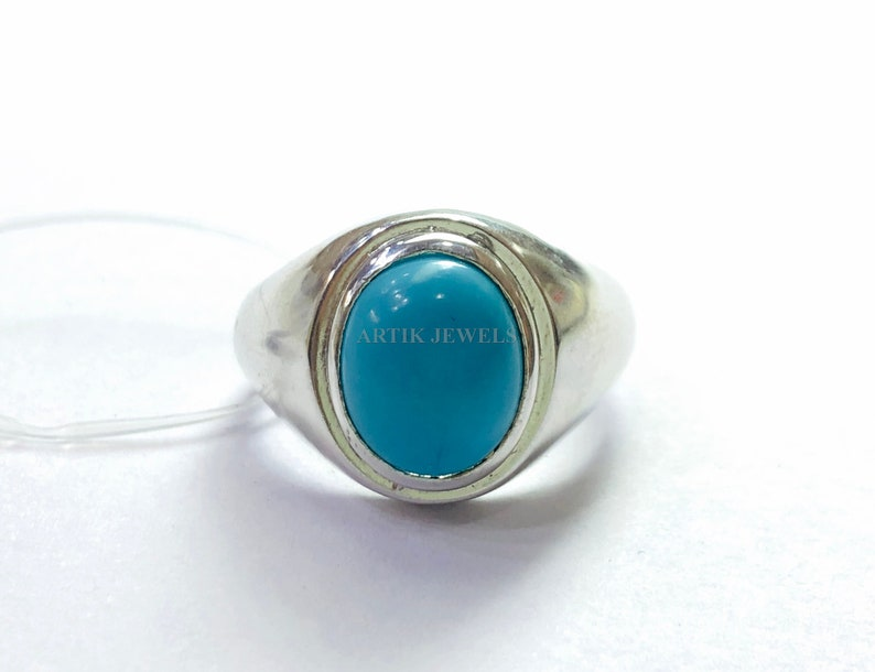 Turquoise Gemstone Ring for Men/'s Personalized Ring for Men/'s December Birthstone Ring for Him 925 Sterling Silver Ring