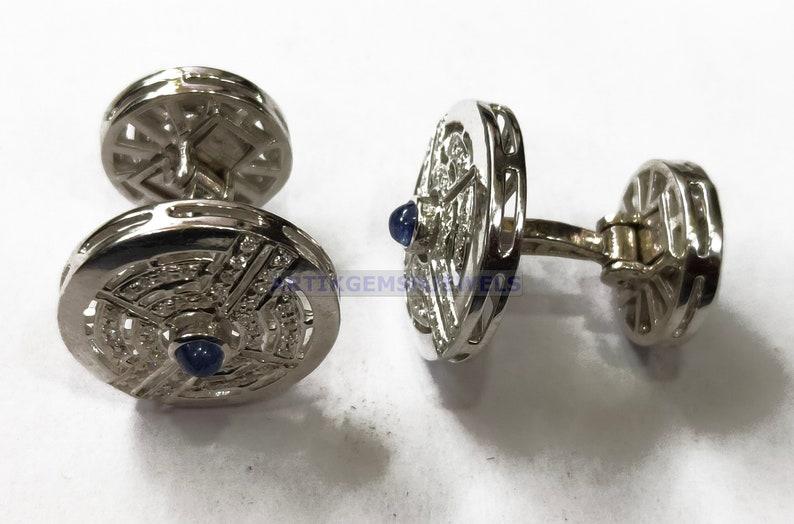 Men/'s Gift Blue Sapphire Cuff Link Sterling Silver Cuff Link