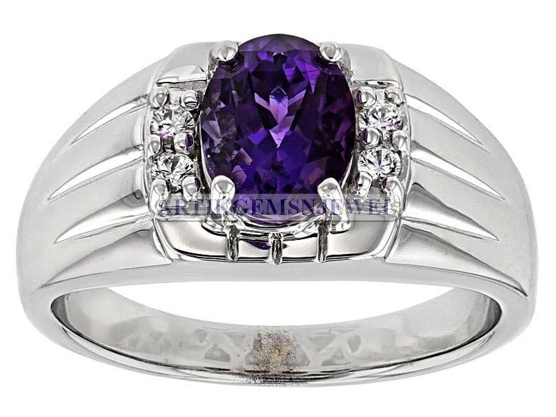 Amethsyt Gemstone Men/'s Ring Anniversary Gift for Men/'s February Birthstone Ring for Him 925 Sterling Silver Ring