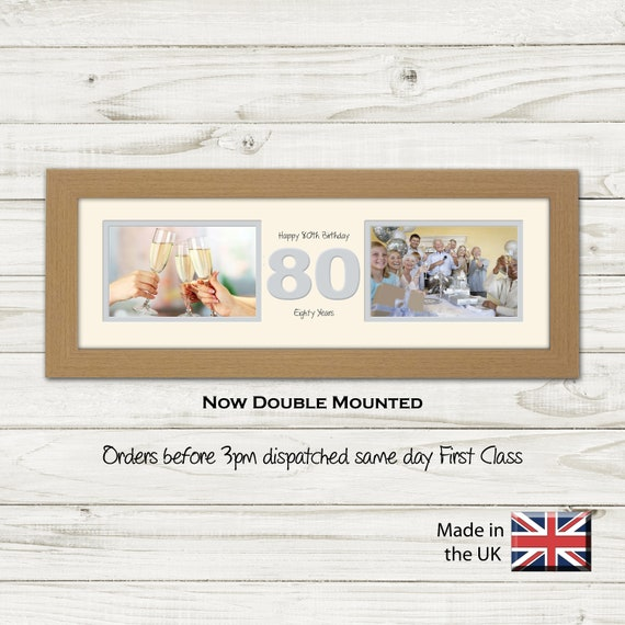 """80th Birthday Photo Frame Two Box x2 6""""x4"""" Photos by Photos in a Word 1229A"""