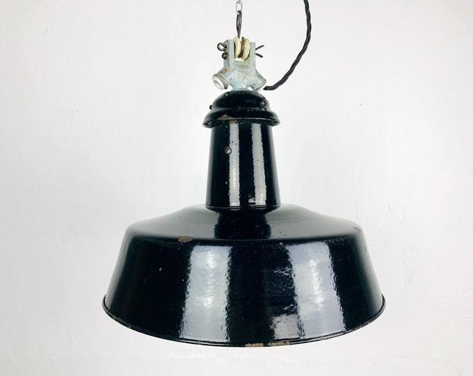 Emaillelampe schwarz Bauhaus