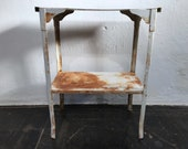Tin shelf white with patina antique shelf metal stand shelf industrial bedside table side table