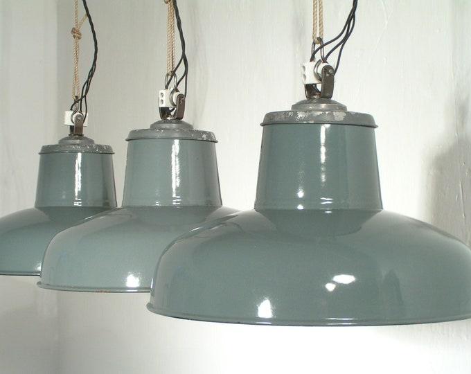 3er SET original SIEMENS Fabriklampen