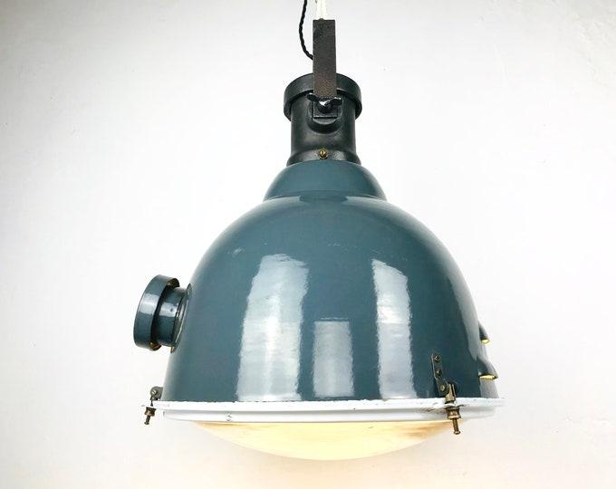 seltene Emaillelampe dunkelgrau