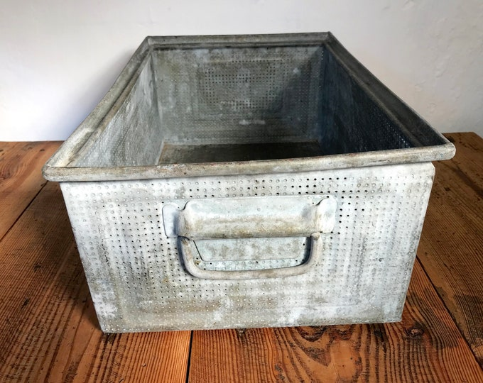 Vintage staple box 47x32x20 Shepherd's box perforated sheet metal box