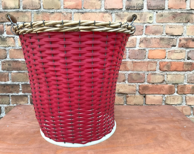Vintage Wäschekorb mid century rot