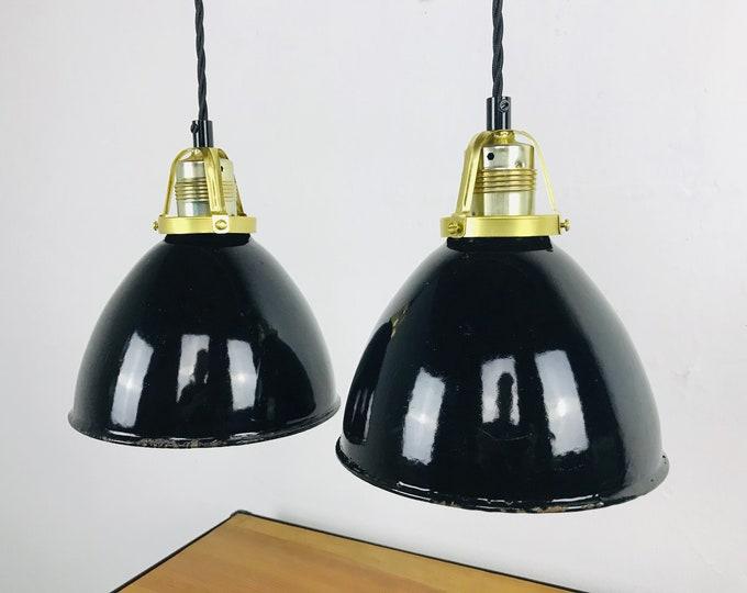 2er Set kleine Siemens Art Deco Emaillelampen
