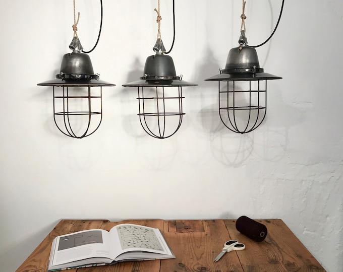 1 von 3 SIEMENS Fabriklampe mit Schutzkorb