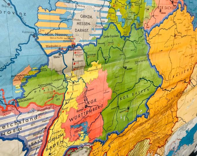 riesige farbenfrohe Schulwandkarte Deutschland 1815-1918