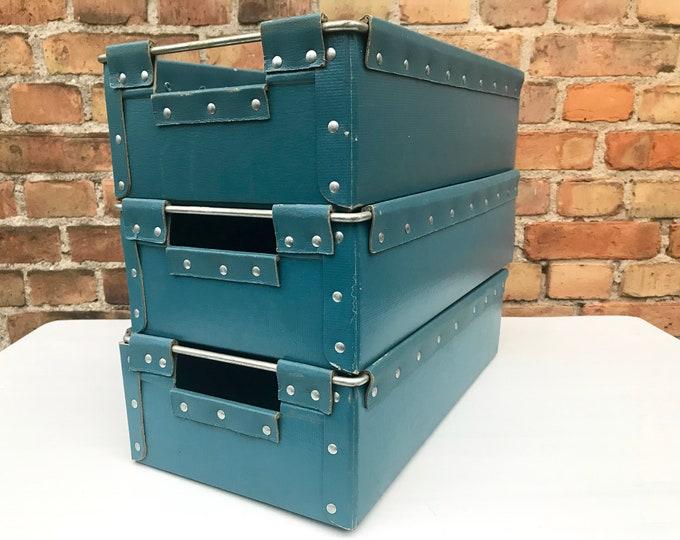 3er Set blaue Vulkanfiber Kisten 45x25x13 cm