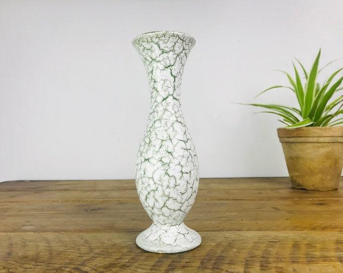 white green vase SCHEURICH 22 cm vintage midcentury