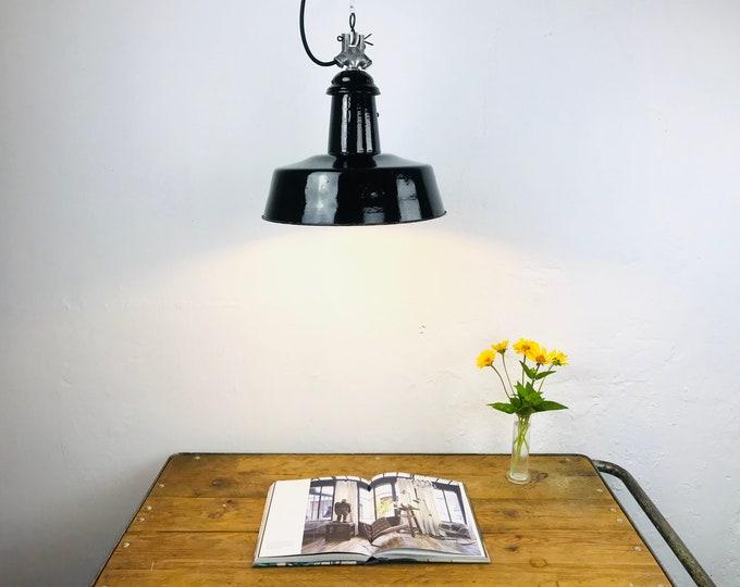 Emaillelampe schwarz 20s 30s