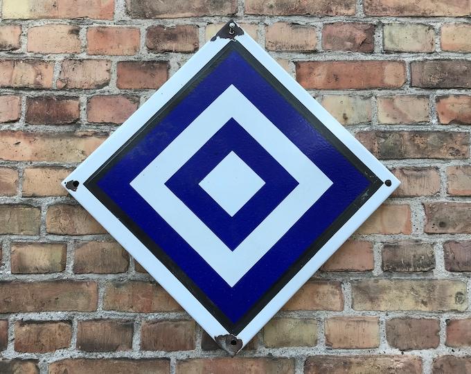 großes Emailleschild blau weiß 50x50 cm Bahn