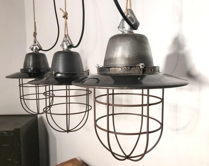 3er SET SIEMENS Fabriklampen mit Schutzkorb